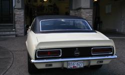1967 Chevrolet Camaro RSSS (clone) 396cu (420HP), 4spd(M21), 12 Bolt posi(3.73 gears), PS, PB(disk), 3?? stainless exhaust, , console with gauges, Capri crème color(original colour), black deluxe interior, hideaway lights work, new sheet metal. Car was