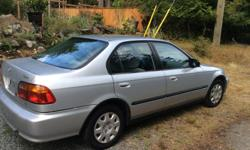 Make Honda Model Civic Year 2000 Colour Silver kms 235400 Trans Manual $1975 OBO A Decent Reliable Gas Saver! 2000 Honda Civic, 4 Dr Sedan, Silver, 4 Cyl, 5 Spd manual trans, Just 235400 Kms w New Timing Belt at 197000 Kms. A Well Maintained and Cared for