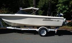 19a75-18' Cal glass boat, seats 6, 2 folding for sleep 2, OMC 120 4 cylinder inboard/outboard motor, new water impeller, built in gas tank, hummingbird fish finder, anchor, 2 scotty downriggers, fishing rod holder, 2 oars, new port-o-potty (never used), 4
