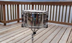 14X8 Ludwig Coliseum Snare drum, 12 lugs, Maple shell, Chrome Wrap, Amazing shape. This drum kills for a massive snare sound on recordings. New Ambassador remo heads. These sell on eBay for $375-450 right now, so I figure $300 was a great price.