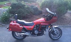1982 HONDA SABRE VF750S. 750CC, 69000 KS. 6 SPEED TRANSMISSION, SHAFT DRIVE. LOCAL BIKE, BOUGHT NEW AT ACTION CYCLE IN ESQUIMALT. I HAVE OWNED HER SINCE 2002 AND AM THE 3RD OWNER. IT COMES COMPLETE WITH HONDA-LINE FAIRING AND HARD BAGS. IT ALSO COMES WITH