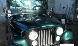 Make Jeep Colour green Trans Manual kms 200000 Straight 6cyl, 5speed, 8kobo, exc.cond. Stock wheels. Lost storage, must sell. Phone anytime, too old to text.