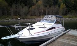 Bayliner Ciera sun bridge cruiser, with Brand new camper canvas worth 6000 bucks. Travel cover included Boat sleeps 4 with forward fold down v berth and aft cabin. Small bathroom. Has 5.0 v8 Mercruiser, closed cooling with Alpha drive, runs well and has