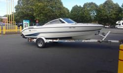 beautiful boat in garage kept condition with very little hours (250hrs) 4.6L mercruiser engine produces significant power while using almost half the fuel as a v8! has 4 speaker stereo with aux input, swim platform with ladder, tow tube hookup with rope