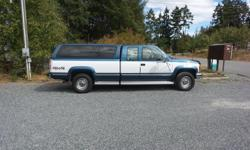 Make Chevrolet Model 2500 Year 1992 Colour blue / white Trans Automatic chevy silverado, very clean and low kilometres for the year. -blue clothe interior (very clean) -power windows -A/C still blows cold -manual 4x4 shift -wired for fifth wheel -tires