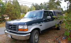 Make Ford Model F-250 Year 1993 Colour Blue kms 265000 Trans Manual 7.3 Litre Non Turbo Diesel 5 speed manual transmission 2 wheel drive Decent tires A/C and cruise control Extended cab Hunting canopy 2 inch towing receiver and wired for trailer Good