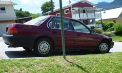 Make Honda Model Accord Year 1993 Colour Burgandy kms 404500 Trans Manual 5-speed with new clutch and timing belt. Runs great! Extra rims. Some rust