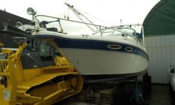 Stock #: BC0029721 VIN: SERT4791L293 1993 SeaRay 27 Foot Boat with Cuddy, Mercruiser 7.4L , 8 cylinder Bravo engine, freshwater cooled, white & blue exterior, white interior, vinyl. Electronic charting system, Raytheon RL9 LCD radar, Raymarine L365