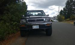 Make Toyota Colour Black Trans Manual kms 278947 Have to sell my truck to pay for school this September. It's the bullet proof 22RE 5 speed, works and shifts great. Here's a list of some of the work I've done to it New exhaust ( minus the cat) Front and