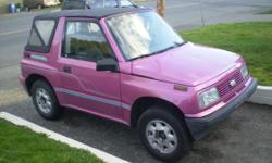 Make Geo Year 1994 Trans Manual kms 320000 2 Wheel drive, soft top, California car, manual 5-speed transmission, good tires, good brakes and dependable. Few dents but no rust.