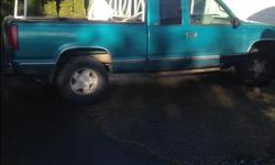 Make Chevrolet Model 1500 Year 1996 Colour blue/green Trans Automatic Well taken care of. crew cab 4x4 automatic Great condition inside all leather in good shape great tires Bin liner Aluminum rack mileage 257000 small rust bottom near door crack in