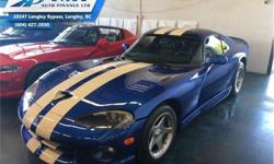 Make Dodge Model Viper Year 1996 Colour Blue kms 3608 Trans Manual Price: $95,995 Stock Number: UVM0756 VIN: 1B3ER69E4TV200756 Engine: 400HP 8.0L 10 Cylinder Engine Fuel: Gasoline Low Mileage! Check out our large selection of pre-owned vehicles today!