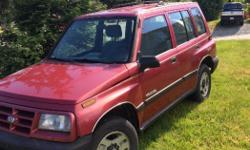 Make Geo Model Tracker Colour Red Trans Automatic kms 203000 Very well kept. No rust dents or dings. New battery and fluids.low km for the year. And has new tires. $3500 obo