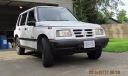 Make Geo Model Tracker Year 1997 Colour white kms 328000 Trans Automatic 1997 geo tracker, doesent leak or burn oil, runs good, great hunting vehicle, automatic, needs whole new exhaust