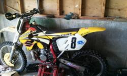 1997 Rm 250 motocross bike, wisco piston and rings fmf full race exhaust, rebuilt motor with about 8 hours on it, with all new seals gaskets, cylinder , clutch ,rear tire,front tire, both tubes , renthal chain and sprockets, renthal handle bars,hand