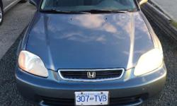 Make Honda Model Civic Year 1998 Colour Blue kms 358800 Trans Manual 1998 Honda Civic, 1.4L 4-Cylinder. manual transmission. Car was used for commuting to Nanaimo, mostly highway kilometres. Very clean and runs great. No accidents. $1200 obo