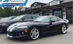 Make Dodge Model Viper Year 1999 Colour Black kms 8286 Trans Manual Price: $79,995 Stock Number: UVM2944 VIN: 1B3ER69E6XV502944 Engine: 450HP 8.0L 10 Cylinder Engine Fuel: Gasoline Low Mileage! Check out our large selection of pre-owned vehicles today!