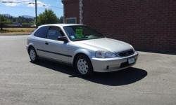 Make Honda Model Civic Coupe Year 1999 Colour SILVER kms 206225 Trans Automatic 1999 HONDA CIVIC 2 DOOR COUPE BASE AUTO GREAT GRAD GIFT OR STARTER CAR.THIS CAR COMES WITH A POWER TRAIN WARRENTY.IN HOUSE FINNACING AVAILABE,CALL FOR DETAILS...DEALER#30638
