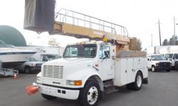 Make International Year 1999 Colour White Trans Manual kms 206795 Stock #: BC0030609 VIN: 1HTSCAAL2XH581725 1999 International 4700 Bucket Truck Diesel with Generator and Air Brakes, 7.6L, 8 cylinder, 2 door, manual, 4X2, AM/FM radio, cassette player,