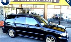Make Subaru Model Forester Year 1999 Colour Black kms 68772 Trans Automatic Price: $6,490 Stock Number: 1360 Interior Colour: Grey Fuel: Gasoline Low Mileage/Kilometres: 68,772km Warranty coverage applies anywhere in Canada in any of 2,500 repair centers