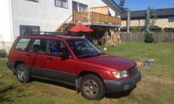Make Subaru Model Forester Year 1999 Colour burgandy kms 203000 Trans Manual VERY GOOD BODY IN AND OUT RUNS AND DRIVES GREAT NEEDS NO REPAIRS CHEAP TO RUN AND VERY RELIABLE A GOOD ALL AROUND CAR FOR ONLY $2350 PLEASE CALL 604-307-8844