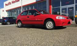 Make Honda Model Civic Year 2000 Colour Red kms 94700 Trans Manual Price: $4,650 Stock Number: 3731B LOCAL 2000 Honda civic cx hatch. This 1 OWNER has zero (0) icbc claims. Timing belt replaced at 56,000 kms. Front tires at 7 out of 8mm, rear are at 6 out