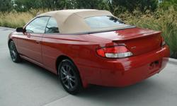 Make Toyota Model Solara Year 2000 Stock # » 297984 Specifications Body type » 2 door Convertible Engine » 3.0 Litre - V6 Trans » Automatic Km » 193,352 Miles » Color » Red Interior » Beige Options » Power steering Soft top Power brake Air conditioner