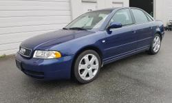 Make Audi Model S4 Year 2001 Colour BLUE kms 85300 Trans Automatic 2001 Audi S4 for sale One Owner 85300km Only V6 Biturbo Automatic Transmission Air Conditioning All Wheel Drive Sunroof Power Seats Tilt Steering Cd Player Keyless Entry Power Trunk GREAT
