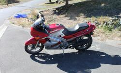 the bike runs great 41K (2600 km/yr), This is the perfect learner and commuter bike. Light weight, easy to handle and fun. Cheap to run and insure. It's been well maintained, oil changed every 3500 km, valves adjusted in May, Forks recently serviced and