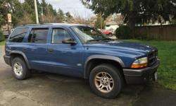 Make Dodge Model Durango Year 2002 Colour Blue Trans Automatic Well maintained, one previous owner, power windows, locks, mirrors, cruise control, remote locks, excellent air conditioning, 6 CD changer, runs great