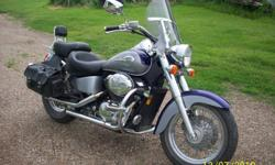 2002 Honda Shadow A.C.E. 750. 15000 miles. Excellent condition. Good tires. Comfy Cobra seats. Crash bar. Saddle bags. Small ding on tank. $5000.00. 204-773-6634 or mailto:wrwile@gmail.com . Located in Russell.