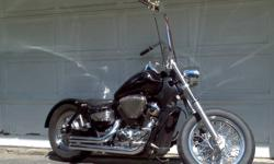 """One of a kind custom honda shadow ace. 18"""" ape hangers, foot clutch, jockey shift, rigid. Tons of custom machined parts! Aftermarket pipes, open breather and jet kit. Passenger seat and sissy bar inc. Very well maintained. Have all original parts to make"""