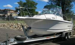 4.3L MPI Mercruiser, Alpha one drive, ACE Tandem trailer with electric brakes ,Garmin GPS / Sounder, 2 - 1106 Scotty down riggers,4 blade prop,  Spare prop,  Fishing top with side curtains, Lumar Pro Series windlass, Anchor chain & Rhode,  2 fish boxes,