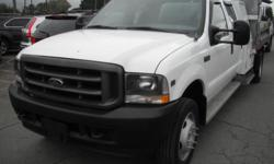 Make Ford Model F-550 Year 2003 Colour White kms 113892 Trans Automatic Stock #: BC0027761 VIN: 1FDAW56S83ED56935 2003 Ford F-550 Crew Cab 2WD Dually with Dump Box, 6.8L, 10 cylinder, 4 door, automatic, RWD, AM/FM radio, white exterior, gray interior,