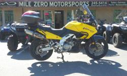 With Akrapovic Mufflers, Givi sideracks, Rear box with backrest, Touring screen and crash guards. New tires. Ready to start your Adventure Fully Serviced Trades Welcome Financing available at http://www.themilezero.com/pages/financing Mile Zero
