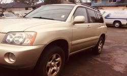 Make Toyota Model Highlander Year 2003 Colour Gold kms 260000 Trans Automatic 2003 Toyota Highlander ( 4 Wheel Drive ) Well kept, Routinely Serviced, 4 Wheel Drive, Automatic, Loaded, Leather, Run Excellent, Interior Is Very Clean, Non Smoking, Lady