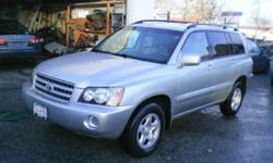 Make Toyota Model Highlander Year 2003 Colour Grey kms 163000 Trans Automatic Quality, Value, Sale, Finance, Lease, Warranty, Parts, Tires, since 1990, winner of Consumer Choice Award 2016 for Vehicle Sales in British Columbia, Daytona Auto Sales, 2003