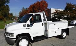 Make Chevrolet Model C4500 Year 2004 Colour White kms 124881 Trans Automatic Stock #: BC0030530 VIN: 1GBE4C1184F502362 2004 Chevrolet C4500 12 Foot Flat Deck Service Truck Diesel Dually, 6.6L, 8 cylinder, 2 door, automatic, 4X2, air conditioning, AM/FM