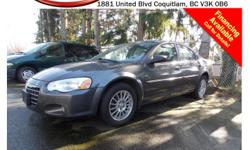 Trans Automatic This 2004 Chrysler Sebring Limited has alloy wheels, fog lights, leather interior, power windows/locks/mirrors/seats, steering wheel media controls, dual control heated seats, CD player, A/C, AM/FM radio, rear defrost and more!!! STK #