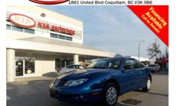 Trans Manual This 2004 Pontiac Sunfire is in excellent condition with LOW KMs! Fog lights, original CD player, front and rear defrost, AM/FM radio, manual transmission, manual windows/doors and so much more! STK # 445039 DEALER #31228 Need to finance? Not