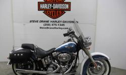 2005 HARLEY-DAVIDSON: FLSTN SOFTAIL DELUXE®   COLOUR: White/Blue Pearl         Mileage: 66,346 kms       Stock # U05-033180   H/D Extras include: Hard leather locking saddlebags, quick release windscreen, heated nostalgic style rubber grips, Stage 1 kit