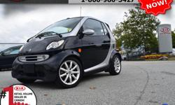 "Make Smart Model Fortwo Year 2005 Colour Black Trans Automatic We are Canada's #1 KIA Retail Volume Dealer. Our volume purchasing power saves you money! Our motto ""we can replace vehicles, we cannot replace our customers!"" is the reason we sell more new"