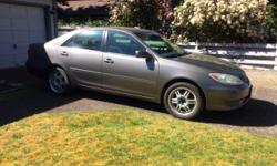 """Make Toyota Model Camry Year 2005 Colour Grey Trans Automatic This car is in excellent condition. I have had it since 2006. It has been an extremely reliable vehicle. No accidents. Brand new Michelin tires May 2016. 17"""" rims. Tinted windows. 4 cylinder;"""