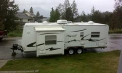 Rear island bed, TV, A/C shower/tub, radio built in speakers, wood cabinets, Light Weight aluminium frame.