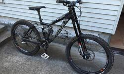 Frame size is Medium. Great bike, fork was just rebuilt. New front brake pads. Has wide Chromag bars. New derailleur last year. It may be old but it can still handle any trail. I've ridden it at Whistler no problem. 500$ and it's yours.