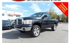 Trans Automatic 2007 Dodge Ram 1500 with alloy wheels, fog lights, leather interior, steering wheel media controls, power locks/windows/mirrors, CD player, AM/FM stereo, rear defrost and so much more! STK # 76087A DEALER #31228 Need to finance? Not a
