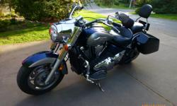 One owner no accident, excellent condition. Hard saddle bags. Removable windshield (no tools required). Baron tachometer. Mustang seat. Highway foot pegs. Avon Cobra tires (50% remaining). This motorcycle is very comfortable to ride and great for touring.