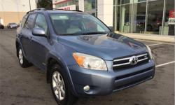 Make Toyota Model RAV4 Year 2007 Colour Blue kms 221203 Trans Automatic Price: $10,995 Stock Number: 184841 VIN: JTMBK31V675023584 Interior Colour: Grey Engine: V-6 cyl Fuel: Regular Unleaded 2007 Toyota RAV4 V6 Limited: Bluetooth, power sunroof, windows