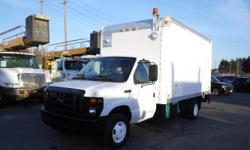 Make Ford Year 2008 Colour White Trans Automatic kms 121870 Stock #: BC0030760 VIN: 1FDXE45S48DA72059 2008 Ford Econoline E-450 14 Foot Cube Van with Power Tailgate and onan generator, 6.8L V10 SOHC 20V engine. 2 door, automatic, RWD, white exterior, grey