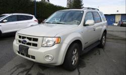 Make Ford Model Escape Year 2008 Colour Ginger Ale kms 171671 Trans Automatic Price: $9,995 Stock Number: 190422 VIN: 1FMCU94148KA74896 Interior Colour: Camel Leather Engine: 3.0L V6 Cylinder Engine Leather heated seats, sunroof, roof rack with crossover